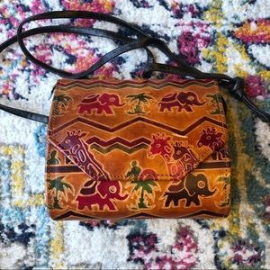 Vintage | Tooled Leather Safari Animal Handbag